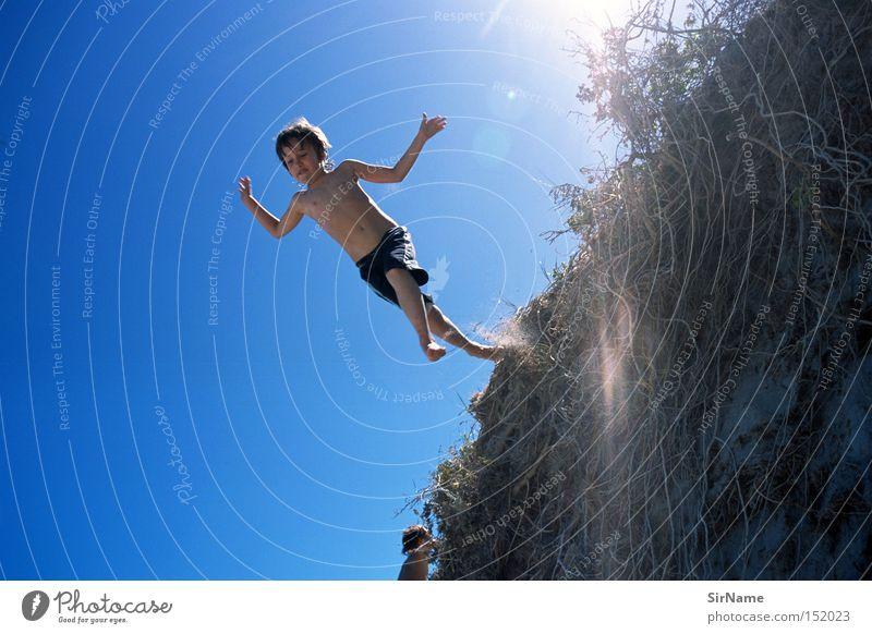 29 [Tarot 0 - Der Narr] Kind Himmel Jugendliche Ferien & Urlaub & Reisen Sonne Freude Junge springen Freizeit & Hobby Kindheit Vertrauen Mut Düne Stranddüne