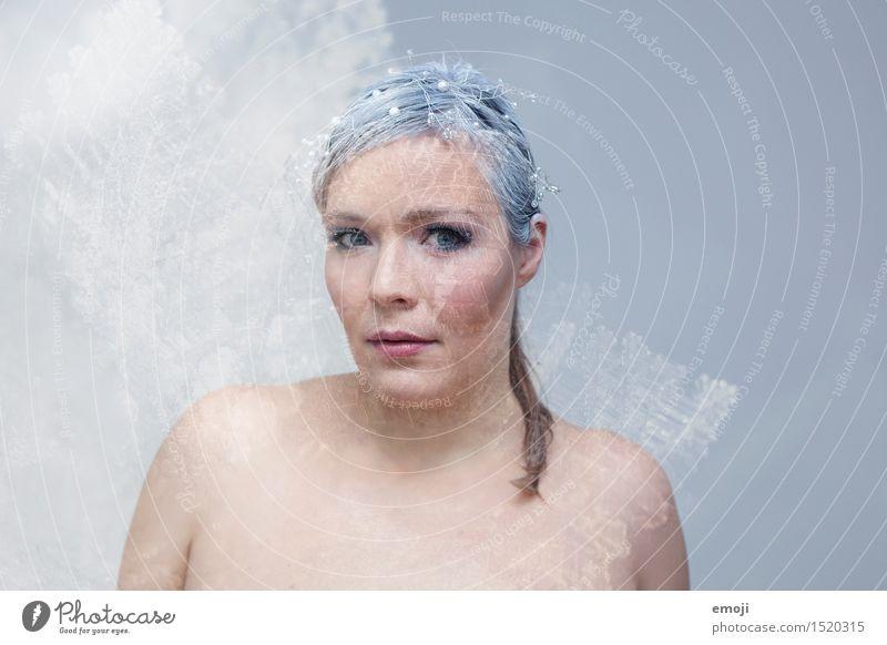 crystal feminin Frau Erwachsene Haut Gesicht 1 Mensch 18-30 Jahre Jugendliche außergewöhnlich schön einzigartig kalt Doppelbelichtung Farbfoto Innenaufnahme