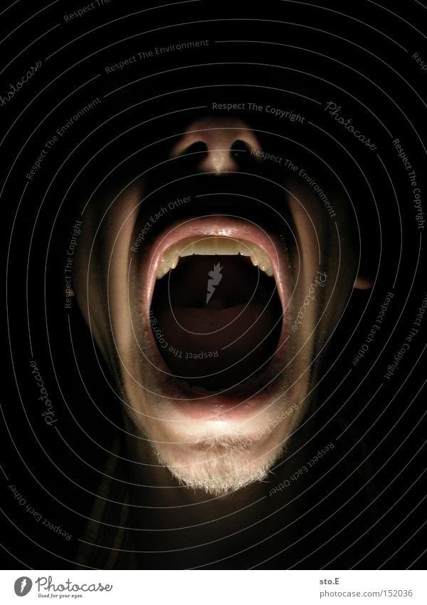 scared Mensch Gesicht Beleuchtung Mund Angst gefährlich bedrohlich gruselig Wut schreien Panik Ärger Schrecken erschrecken