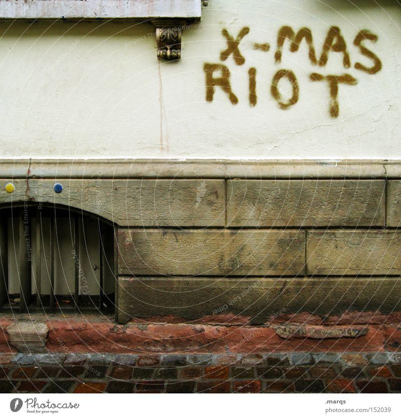 Advent, Advent Weihnachten & Advent Wand Typographie Graffiti Freude Aufstand Wut schreibend riot gegen Feste & Feiern Schriftzeichen unruhig aufruhr