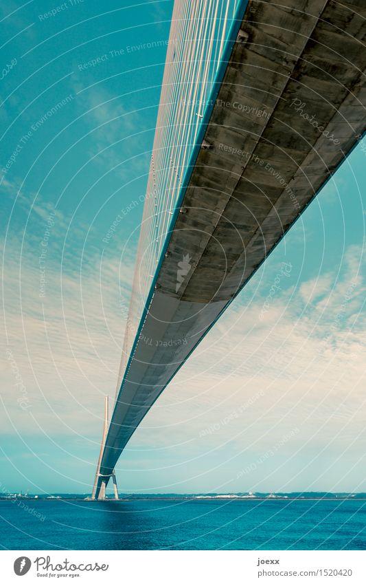 Verbindungstechnik Himmel Brücke Schrägseilbrücke Beton Stahl gigantisch groß hoch blau grau weiß Hoffnung Wege & Pfade Farbfoto Außenaufnahme Menschenleer Tag