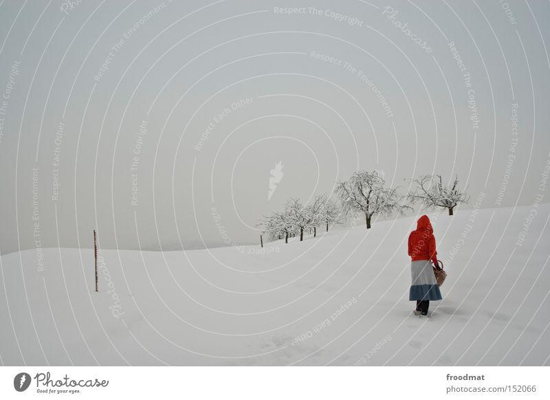 kappe rot weiß Baum ruhig Winter kalt Berge u. Gebirge Schnee grau trist Schweiz kahl Märchen sehr wenige Rotkäppchen