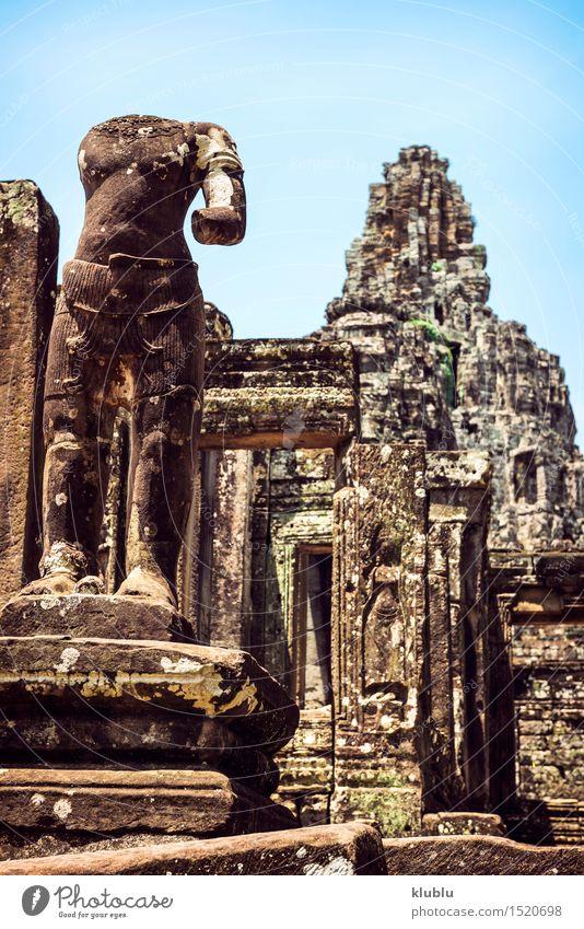 Angkor Thom Tempelansicht, Siem Reap, Kambodscha Ferien & Urlaub & Reisen alt Gesicht Architektur Religion & Glaube Gebäude Stein Felsen Tourismus historisch