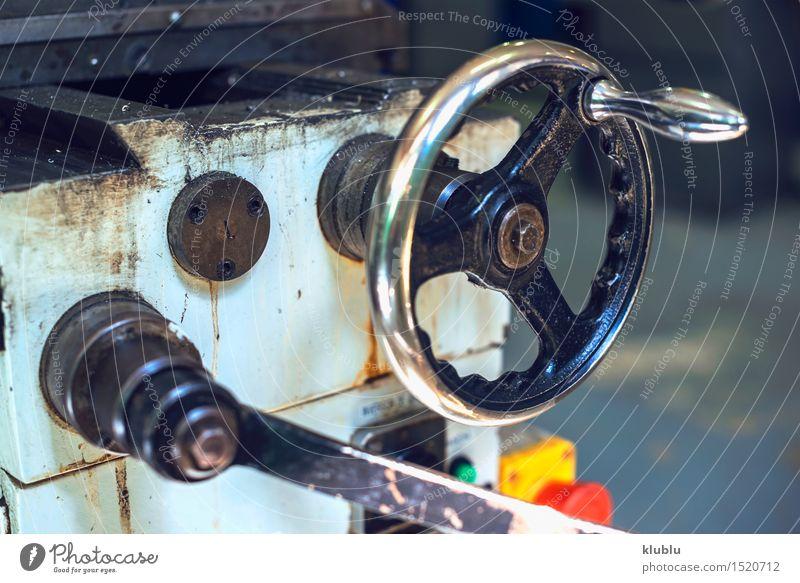 Industrielle Handkurbel alt weiß Metall dreckig Technik & Technologie Energie retro Kontakt Fabrik Rost Maschine Produktion industriell Motor