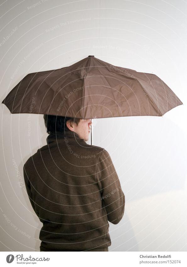 Regen Mensch Mann Wasser Gesicht Stil Regen Wetter Rücken Mode Bekleidung Model Regenschirm trendy Schutzdach
