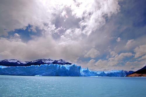 Perito Moreno Gletscher in Patagonien (Argentinien) Himmel Natur Ferien & Urlaub & Reisen blau Meer Landschaft Wolken Winter Berge u. Gebirge Schnee Felsen Park