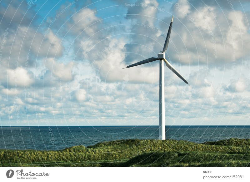 Windrad Himmel Meer Wolken Umwelt Küste Wind Energiewirtschaft authentisch Windkraftanlage Wirtschaft ökologisch Windrad Erneuerbare Energie