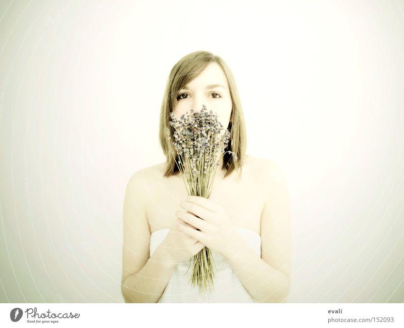 Lavendel Frau weiß Blume hell Fliederbusch Heilpflanzen