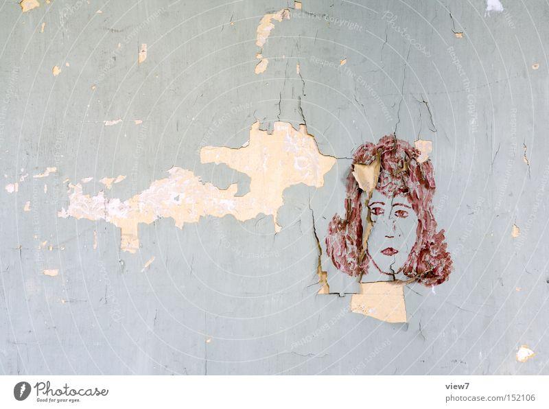 Lockenkopf Frau alt Gesicht Wand Graffiti Tapete obskur Gemälde schäbig Gesichtsausdruck gestalten Entwurf Zeichnung Ausdruck Straßenkunst