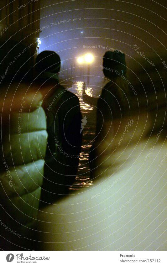 Rialto 1 Venedig Italien Nacht Kanal Canal Grande Tourist Ferien & Urlaub & Reisen Rückansicht Silhouette Nachtaufnahme Kunstlicht Wasser Gegenlicht