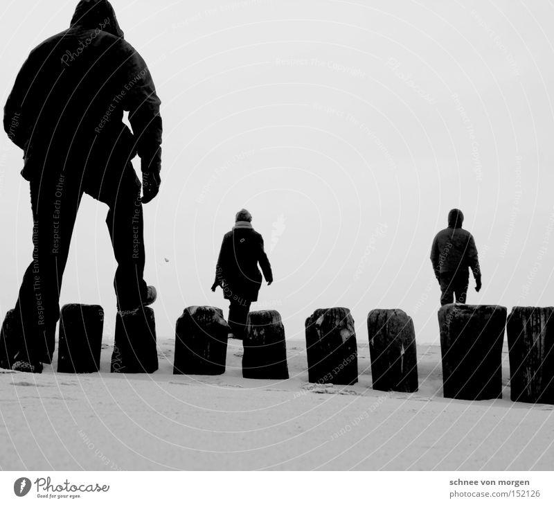 morgenstund Frau Mann Wasser Meer Winter Strand Ferien & Urlaub & Reisen Holz See Sand gehen laufen Erde