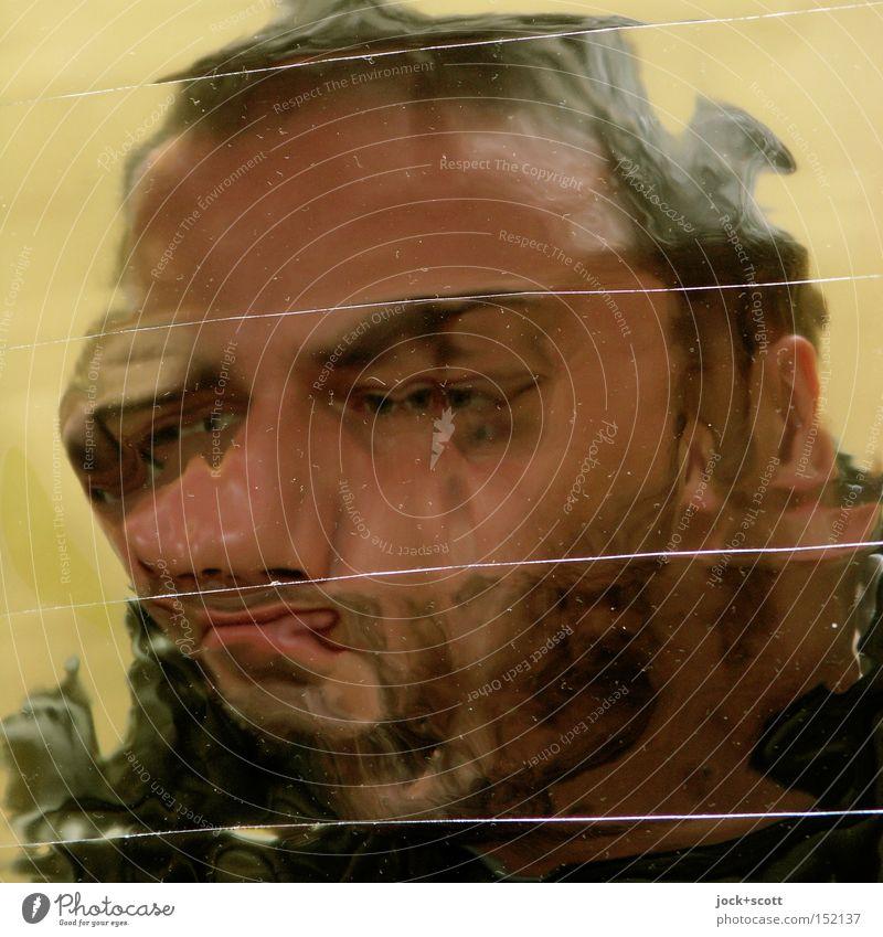 Scatterbrain Mann Gesicht trashig verrückt Verzweiflung verstört Identität Konzentration Surrealismus Irritation Wandel & Veränderung lang gezogen Verzerrung