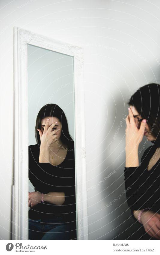 reflection schön Gesundheit Mensch feminin Junge Frau Jugendliche Erwachsene Leben 1 Kunst Künstler träumen Traurigkeit Gefühle Wahrheit Unlust Schmerz