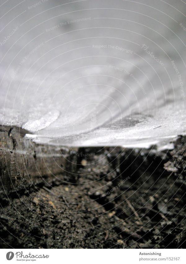 unterm Eis weiß Winter schwarz dunkel kalt Eis Erde Perspektive Frost Boden Bodenbelag unten gefroren Schlamm Eisfläche matschig