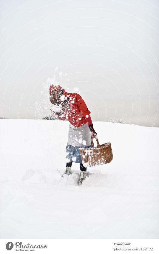Hüttenkäse weiß ruhig Winter kalt Berge u. Gebirge Schnee grau Schweiz kahl Märchen Korb Rotkäppchen