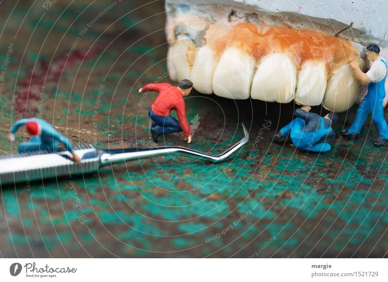 Miniwelten - Zahnpflege Gesundheit Behandlung Krankheit Beruf Handwerker Arzt Arbeitsplatz Gesundheitswesen Mensch maskulin Mann Erwachsene Zähne 4 grün Angst