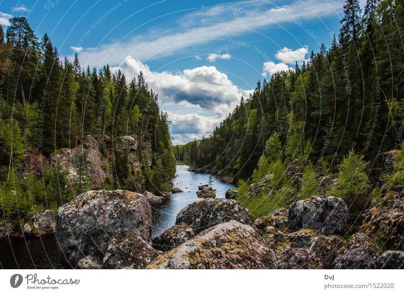 Der tote Wasserfall Natur Ferien & Urlaub & Reisen blau grün Sommer weiß Baum Landschaft Wolken Wald Berge u. Gebirge Umwelt Freiheit Stein Tourismus
