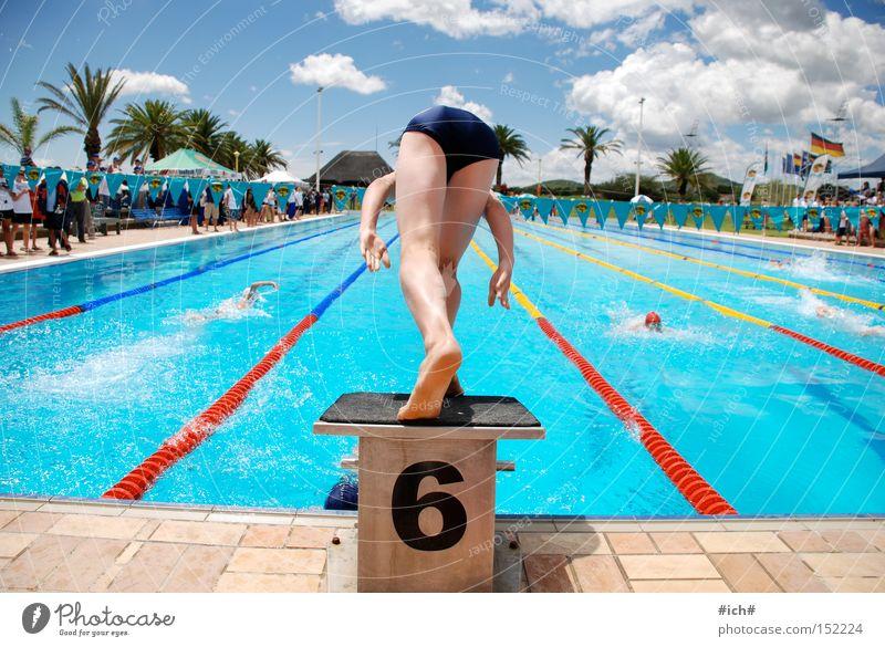Sechser im Wasser I Wasser blau Wolken Sport Spielen Beginn Ziffern & Zahlen Schwimmbad Palme 6 Sprungbrett Badehose Schwimmsportler