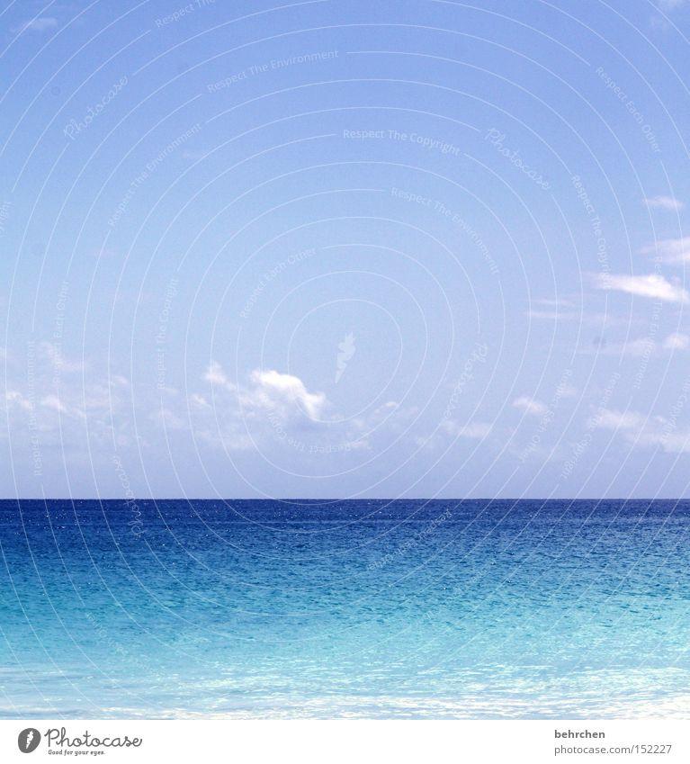 einfach blau Himmel Ferien & Urlaub & Reisen Wasser Meer Wolken Küste Horizont träumen Wellen genießen Seychellen Afrika Flitterwochen Trauminsel