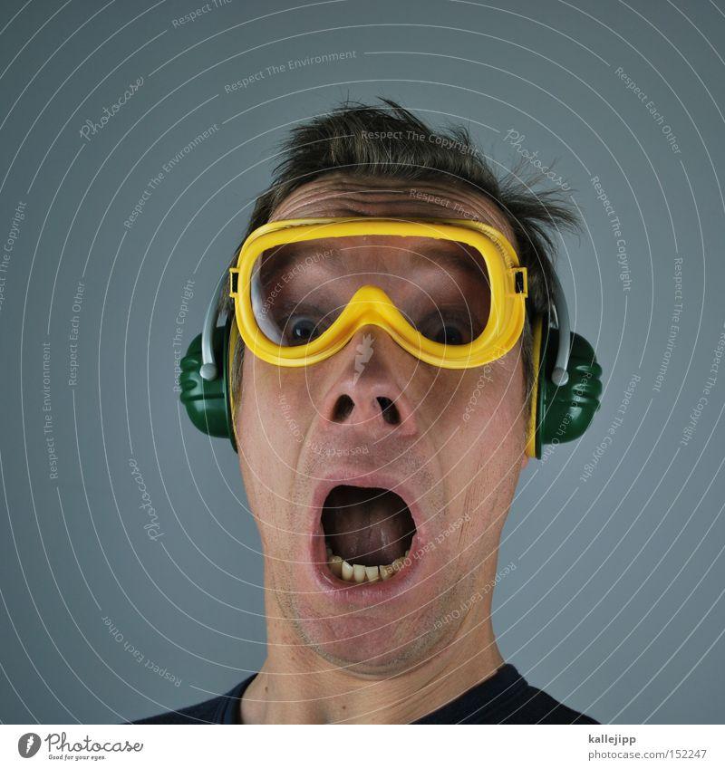 3... Mensch Baustelle Feuerwerk Spannung Bauarbeiter laut Schrecken Krach Arbeiter Lautstärke Knall Schutzbrille Ohrschützer