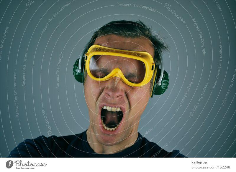 ...2... Mensch Baustelle Feuerwerk Spannung Bauarbeiter laut Schrecken Krach Schutz Lautstärke Knall Schutzbrille Schutzhülle Ohrschützer