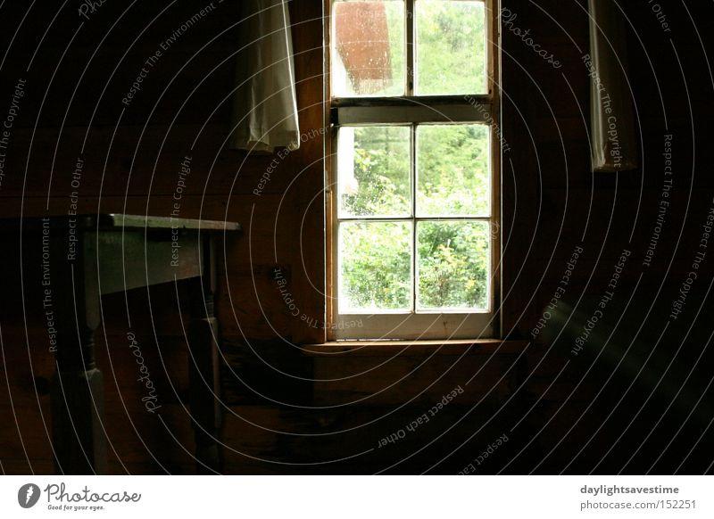 Haus dunkel Fenster Zeit Tisch verfallen historisch Vorhang heimwärts