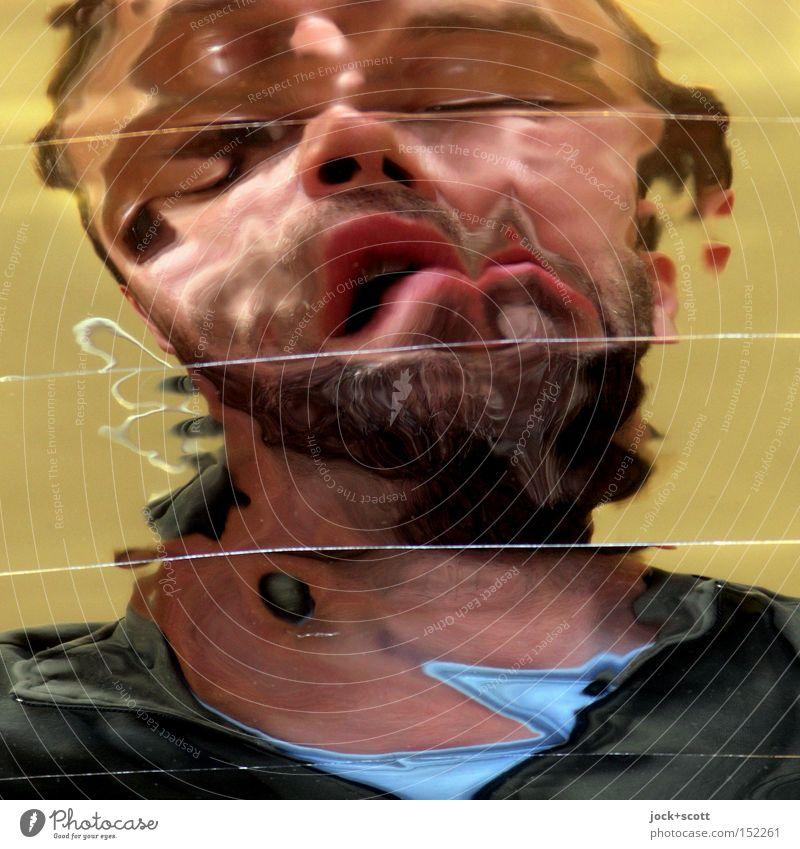 Creep Mensch Mann Erwachsene Gesicht Denken verrückt fantastisch Vergänglichkeit Wandel & Veränderung gruselig Spiegel Schmerz Momentaufnahme bizarr fließen
