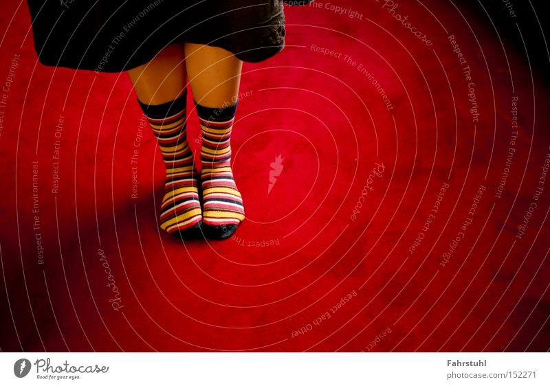 Ringelsocken 1 Frau rot Beine Bekleidung Rock Wohnzimmer Strümpfe Teppich Bodenbelag