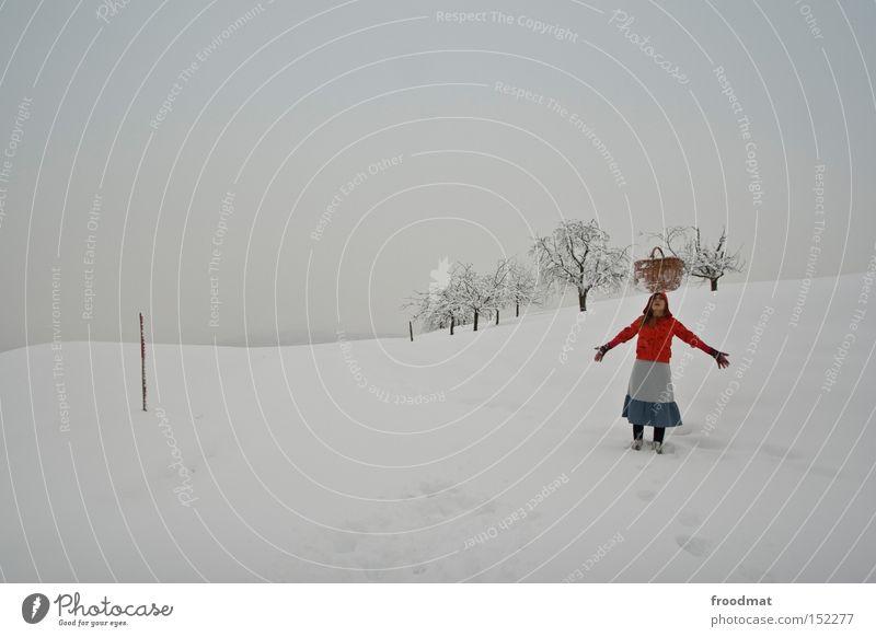 balanceakt weiß Baum ruhig Winter kalt Berge u. Gebirge grau Schweiz Märchen kahl Korb Rotkäppchen