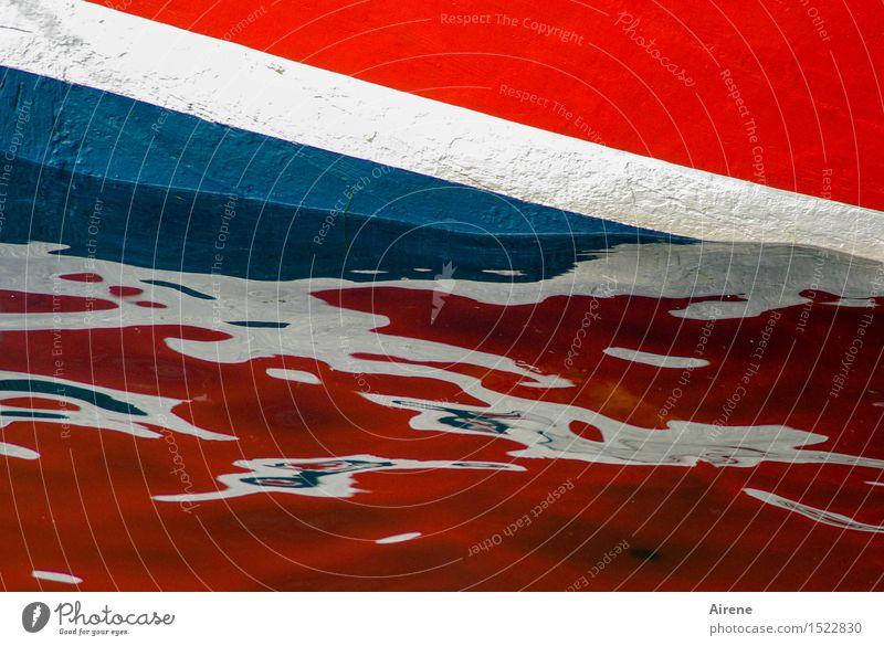 britisches Boot Wasser Wellen Küste Meer Schifffahrt Bootsfahrt Fischerboot Beiboot Schwimmen & Baden nass blau mehrfarbig rot weiß Farbe Fahne Englisch