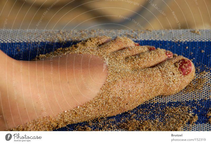 Ein Hauch von Schuh, oder doch nur paniert? Fuß Sand Nagellack Strand Mensch Meer Liege Zehen Beine Nachbar Ferien & Urlaub & Reisen Freude Bräune gestreift 10