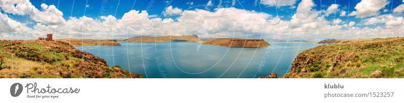Chullpas von Sillustani und ein See, Peru Natur Ferien & Urlaub & Reisen alt blau Landschaft Berge u. Gebirge Religion & Glaube Stein Felsen Insel historisch