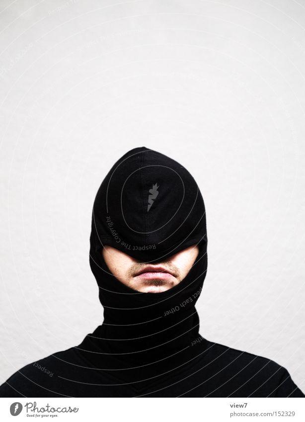 Freude. Mensch Mann schwarz Erwachsene Gesicht lachen Denken Mund planen Unendlichkeit Maske Konflikt & Streit machen Gesichtsausdruck Langeweile