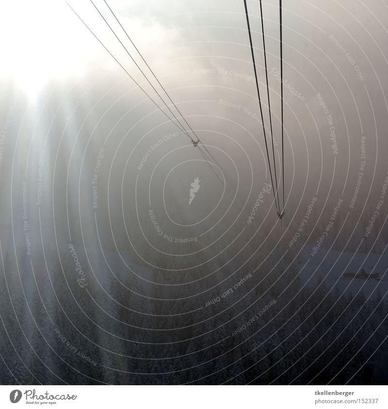 Ein Weg, aber wohin? Sonne Wolken Wald Schnee Berge u. Gebirge Angst Nebel Seil Luftverkehr Streifen Kabel Schweiz Stahlkabel Panik Seilbahn