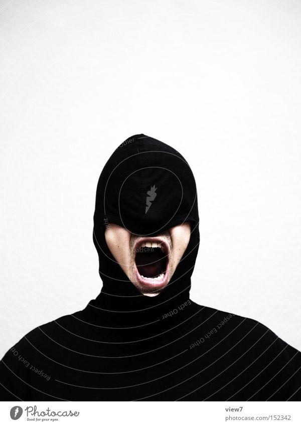 laut. Mensch Mann Freude Gesicht schwarz kalt Erwachsene Mund maskulin verrückt offen Macht Kommunizieren außergewöhnlich geheimnisvoll Wut