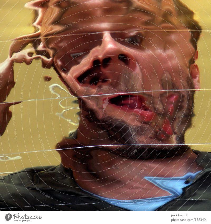 Paranoid Android Mann Erwachsene Gesicht 1 Mensch verrückt trashig Gefühle Identität Schwäche skurril Wandel & Veränderung lang gezogen Verzerrung