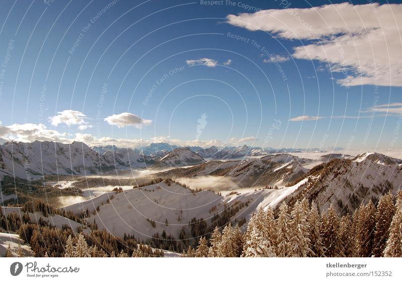 Mountain Dreamworld II. Berge u. Gebirge Schnee Alpen Winter Wolken Himmel Aussicht Panorama (Aussicht) Wald blau Nebel träumen schön Schweiz Schnee groß