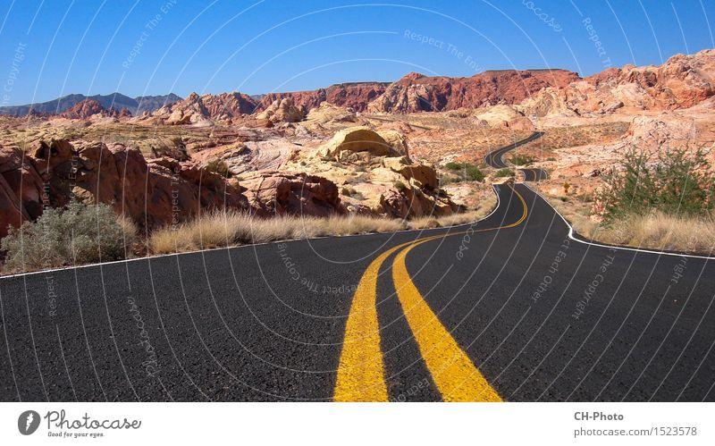 Nevada Valley of Fire Ferien & Urlaub & Reisen Abenteuer Freiheit Berge u. Gebirge Natur Landschaft Sand Feuer Wolkenloser Himmel Sommer Park Felsen Wüste