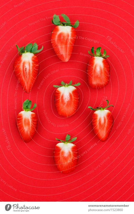 Sommer-Snack Kunst Kunstwerk ästhetisch Erdbeeren rot Teilung Frucht Südfrüchte Erdbeertorte Erdbeereis Erdbeermarmelade Erdbeerjoghurt Erdbeer Shake lecker