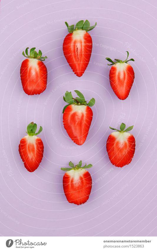 Tetris-Erdbeeren Gesunde Ernährung rot rosa Frucht Design ästhetisch lecker Vegetarische Ernährung Kunstwerk gestalten vitaminreich Südfrüchte Erdbeereis