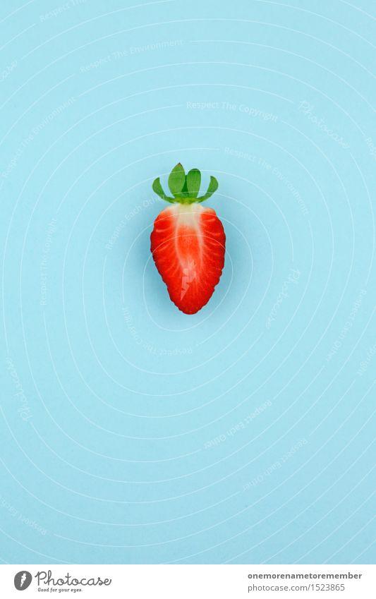 Einsame Erdbeere Kunst Kunstwerk ästhetisch Erdbeeren Erdbeertorte Erdbeerjoghurt Erdbeer Shake rot Frucht Design Eyecatcher Farbfoto mehrfarbig Innenaufnahme