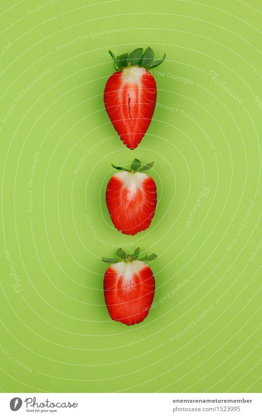 Erdbeerdreier auf Grün Kunst Kunstwerk ästhetisch Erdbeeren Erdbeer Shake Erdbeerjoghurt Erdbeermarmelade Erdbeersorten Erdbeereis rot grün lecker 3 mehrfarbig