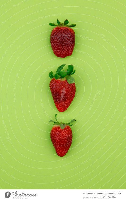 Erdbeerdreier Kunst Kunstwerk ästhetisch Erdbeeren Erdbeereis 3 aufgereiht Muster Symmetrie lecker Gesunde Ernährung Vegetarische Ernährung Bioprodukte grün rot