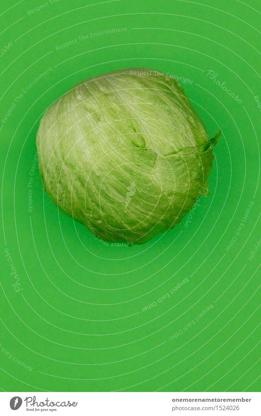 Dumm.Kopf. Lebensmittel Gemüse Salat Salatbeilage Ernährung Bioprodukte Vegetarische Ernährung Diät ästhetisch Kopfsalat Eisbergsalat Salatblatt grün Farbfoto
