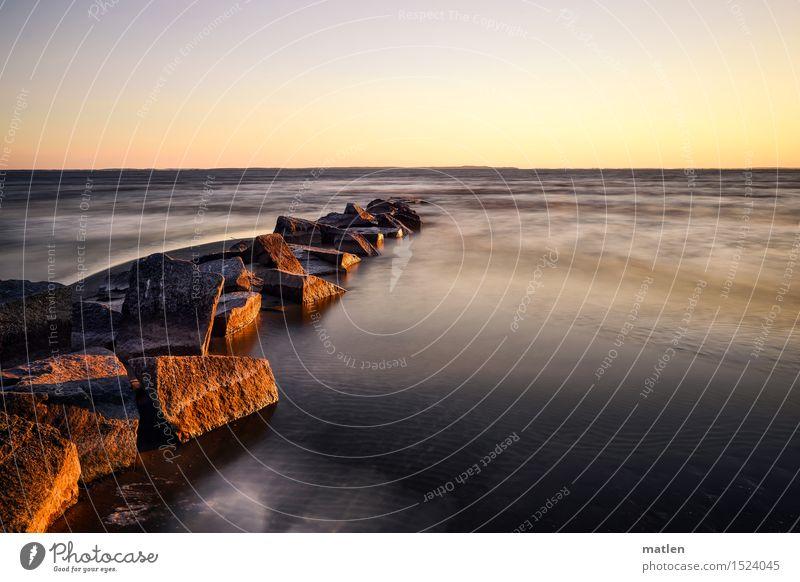 Morgenstund Himmel Natur blau Wasser weiß Landschaft Strand Küste braun Sand Horizont glänzend Wetter Wellen gold Schönes Wetter