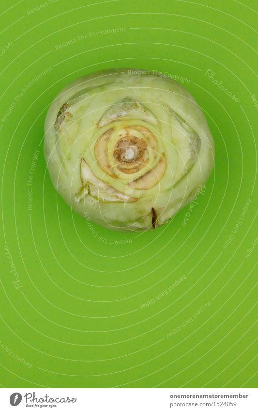 Grüne Knolle Kunst Kunstwerk ästhetisch grün Kohlrabi Gesunde Ernährung lecker Snack Gemüse Gemüsemarkt Ernte Rüben Farbfoto mehrfarbig Innenaufnahme
