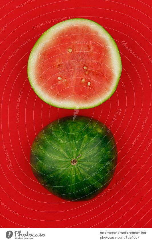 Melone = Sommer Kunstwerk ästhetisch Frucht Obstladen Hälfte Melonen Melonenschiffchen Sommerurlaub Sommerfest Design rot knallig mehrfarbig Kerne grün Hülle