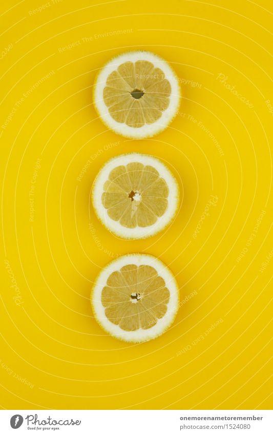 Schmutziger Zitronen-Dreier Kunst Kunstwerk ästhetisch zitronengelb Zitronenschale Zitronenscheibe Design gestalten Reihe 3 Erkältung Vitamin C Farbfoto
