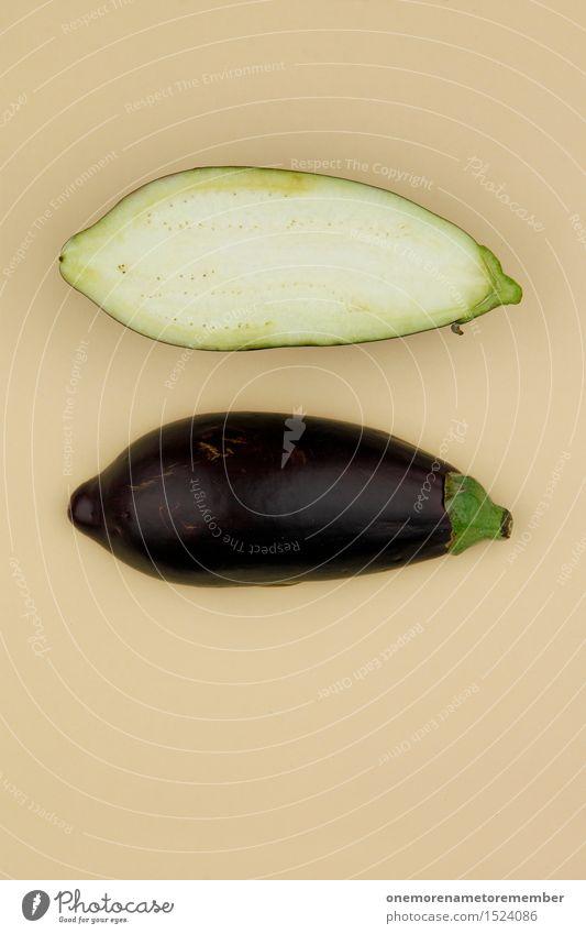 Aubergine... Zack! Gesunde Ernährung Foodfotografie Kunst ästhetisch Gemüse lecker Bioprodukte ökologisch Vegetarische Ernährung Kunstwerk Hälfte beige