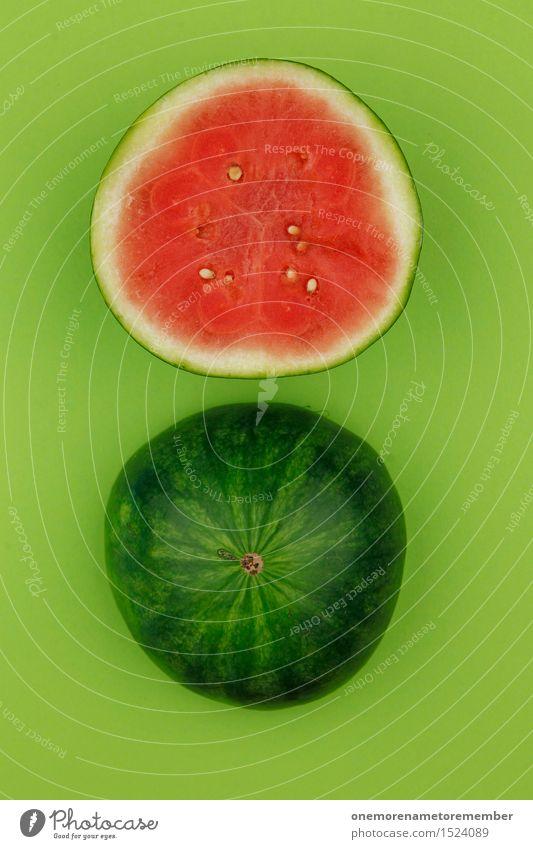 Molly Melone grün Sommer Wasser rot Kunst Frucht ästhetisch rund lecker Teilung Erfrischung Kunstwerk Kerne Verschlussdeckel Melonen Melone